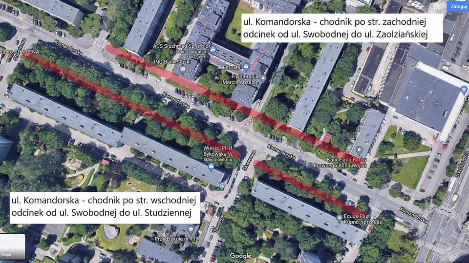 Ulica Komandorska we Wrocławiu - mapa Google