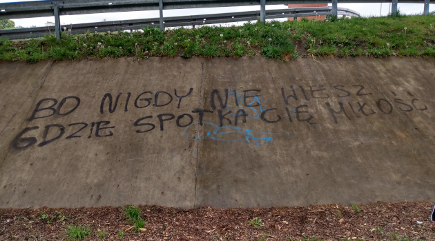 graffiti na zjeździe z Jazu Opatowice
