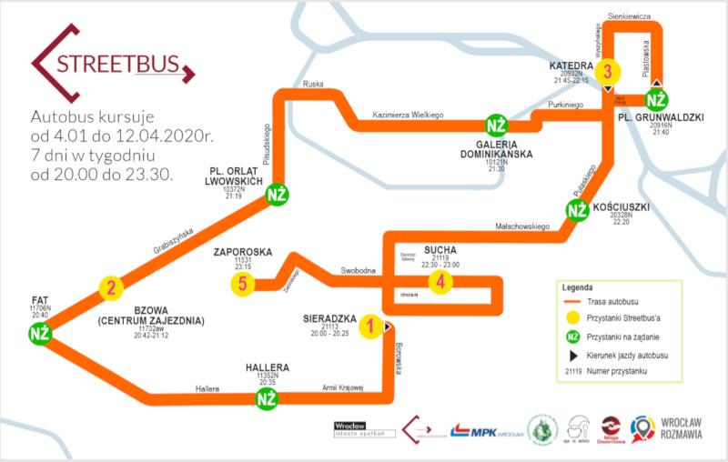 trasa wrocławskiego Streetbusa