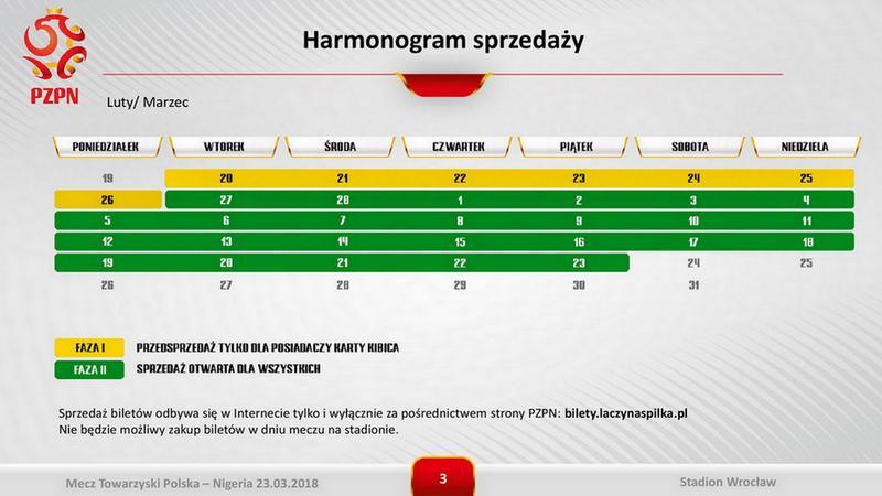 Harmonogram sprzedaży biletów na mecz Polska - Nigeria we Wrocławiu, autor: PZPN