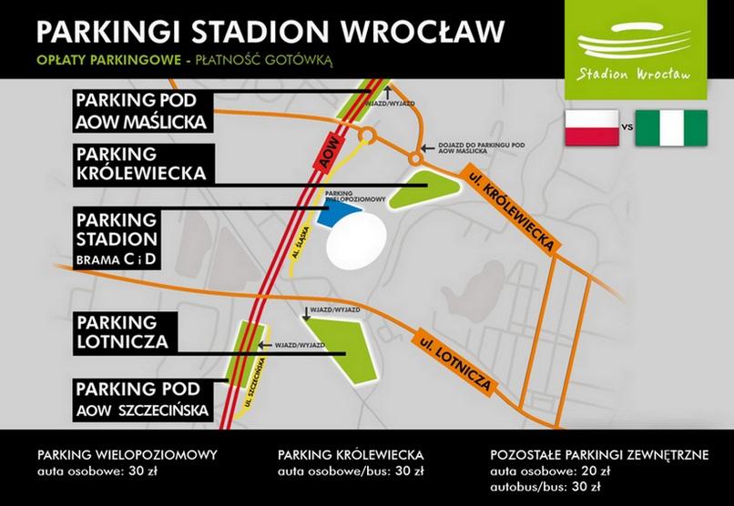 Ceny i lokalizacje parkingów przy Stadionie Wrocław podczas meczu Polska - Nigeria