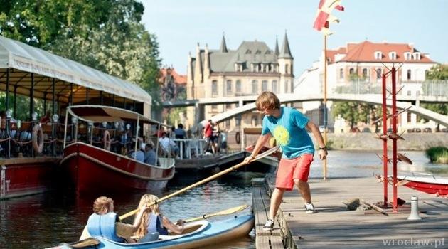 Faire du kayak sur le fleuve Odra à Wroclaw.