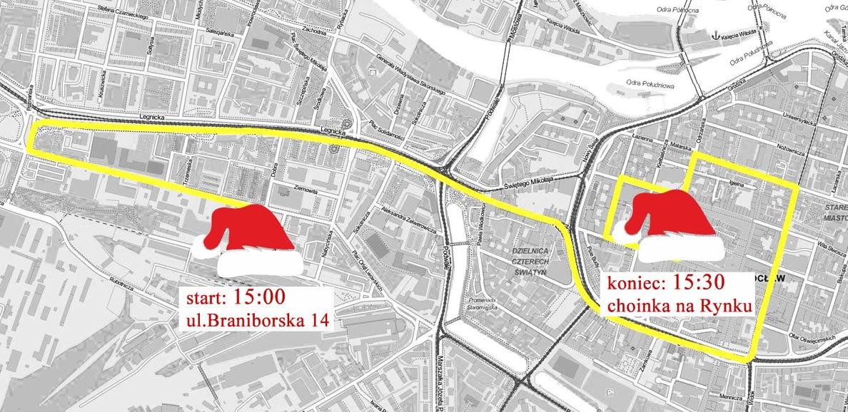 mapa mikołajkowego przejazdu rowerowego