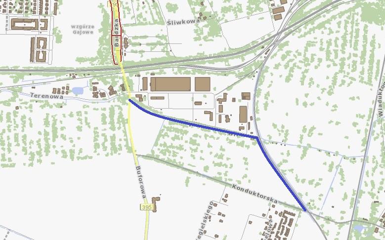 trasa między Komandorską i Buforową