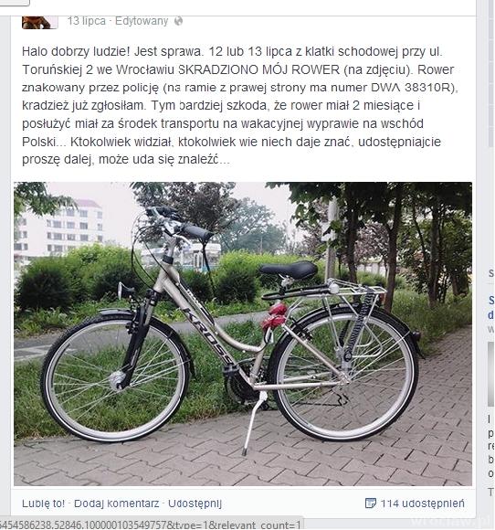 Karolina wrzuciła apel ze zdjęciem roweru na swój profil