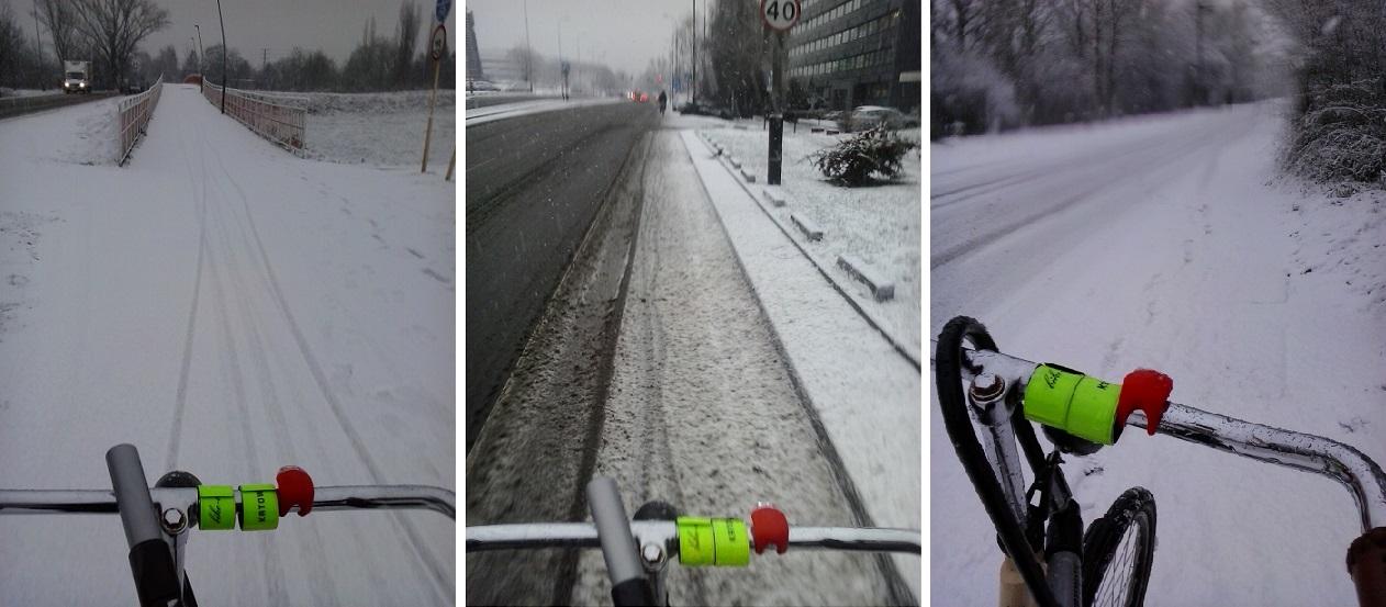 rowerem w śniegu