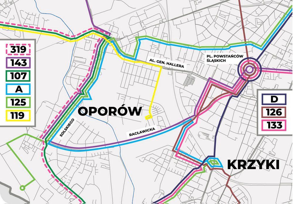 21 sierpnia zmiana połączeń autobusowych na południu Wrocławia - mapa