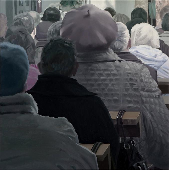 Milosz Flis. People in church