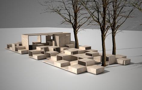Archi-box 7 Baza! - instalacja przed Muzeum Architektury