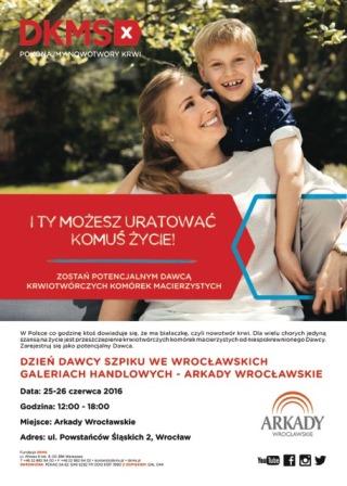 Dni Dawcy Szpiku w Arkadach Wrocławskich i Sky Tower