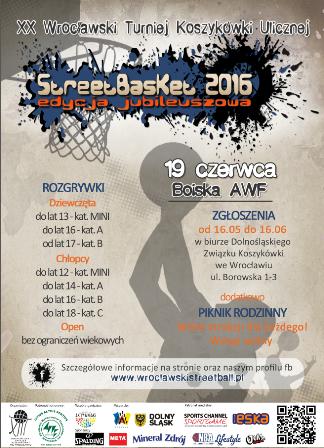 """XX Wrocławski Turniej Koszykówki Ulicznej """"StreetBasket 2016\"""" data-mce-src="""