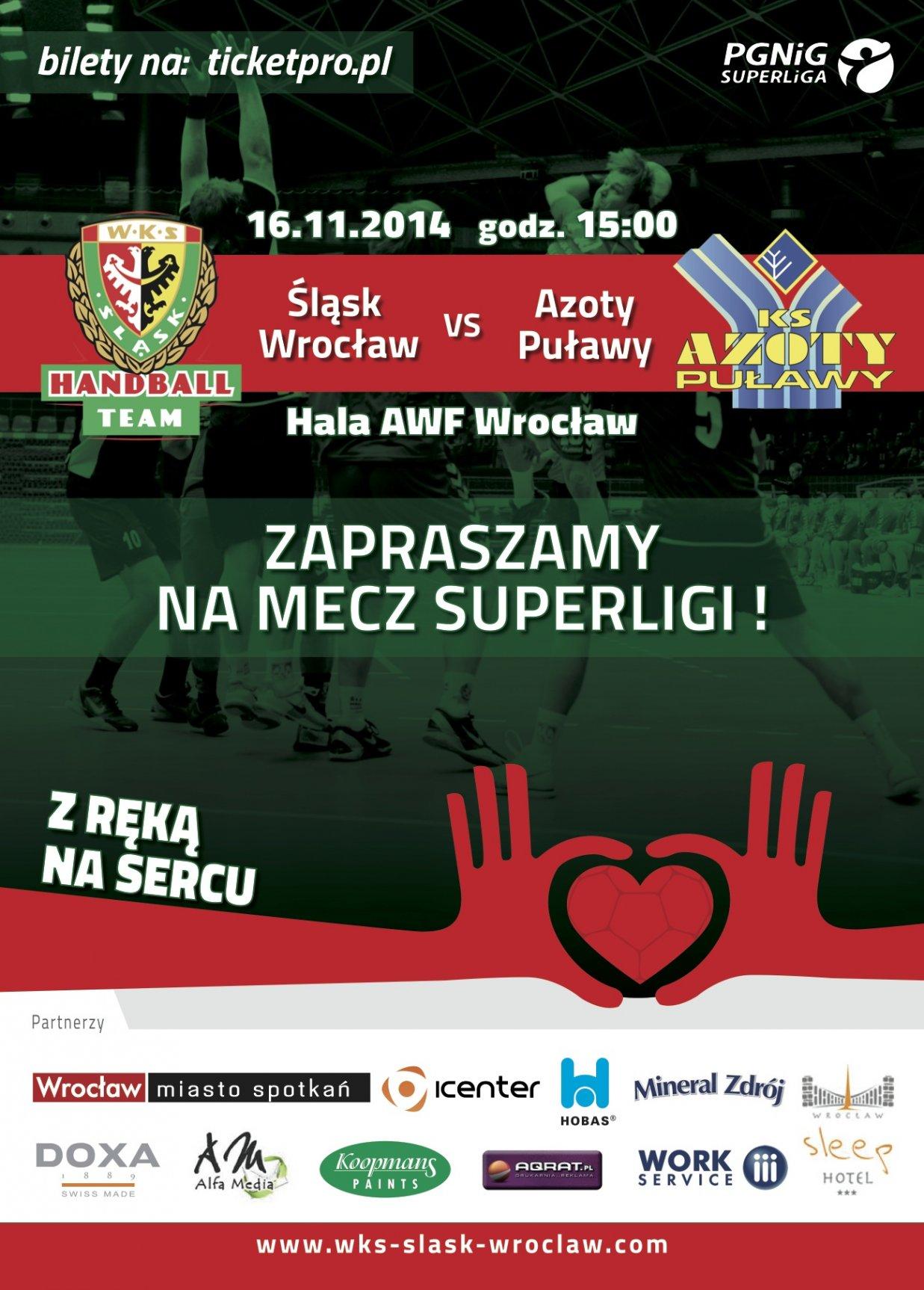 Mecz ekstraklasy piłkarzy ręcznych - Śląsk Wrocław - Azoty Puławy