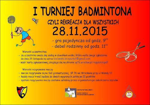 I Turniej Badmintona – czyli rekreacja dla wszystkich
