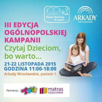 """""""Czytaj dzieciom, bo warto""""– zajęcia dla dzieci z atrakcjami w Arkadach Wrocławskich"""
