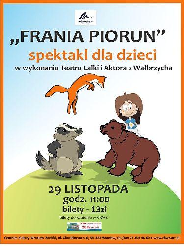 """""""Frania Piorun"""" – spektakl dla dzieci Teatru Lalki i Aktora z Wałbrzycha"""
