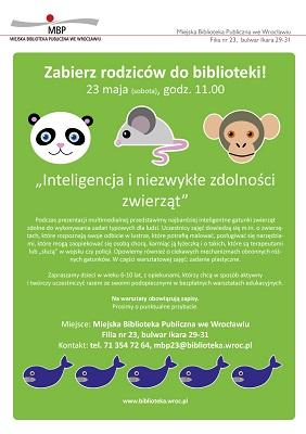 """Zabierz rodziców do biblioteki - """"Inteligencja i niezwykłe zdolności zwierząt"""""""