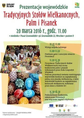Prezentacje tradycyjnych stołów wielkanocnych, palm i pisanek