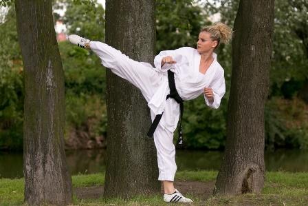 Aerobik sportowy, bule i karate w parku Południowym
