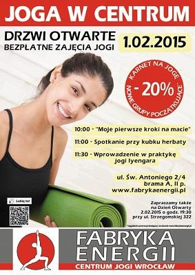 Bezpłatne zajęcia jogi w ramach Drzwi Otwartych w Fabryce Energii - Centrum Jogi Wrocław