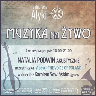 Natalia Podwin akustyczie w restauracji Alyki