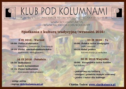 Chatka Tańca – spotkania z kulturą tradycyjną w Klubie Pod Kolumnami: Tańce i pieśni polskie