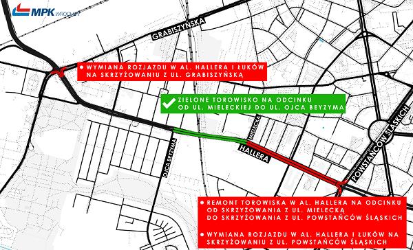 Zmiany w komunikacji miejskiej na al. Hallera, mapka