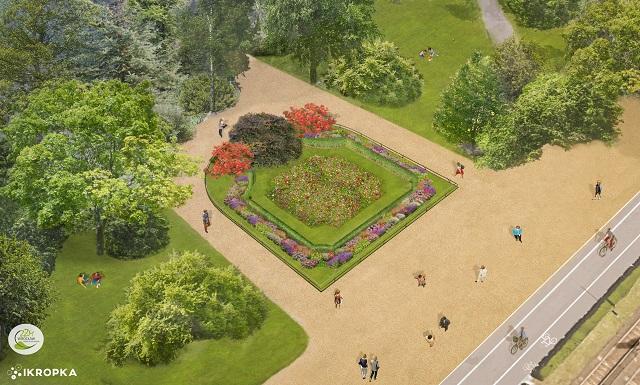 izualizacja mini-ogrodu przy Rondzie Powstańców Śl., źródło: Zarząd Zieleni Miejskiej