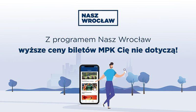 Grafika na temat wyższych cen biletów, które Cię nie dotyczą dzięki rejestracji w programie Nasz Wrocław.